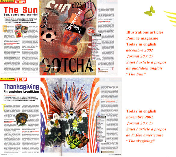 Illustrations articles pour le magazine Today inenglish, décembre 2002 - Today in english, novembre 2002